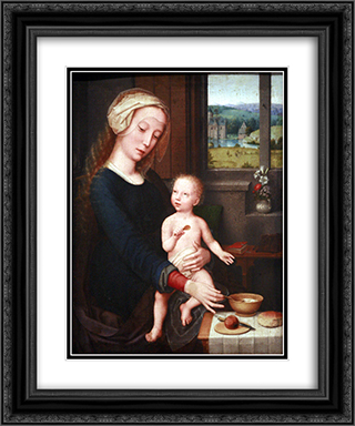Madonna with the Milk Soup 20x24 Black or Gold Ornate Framed and Double Matted Art Print by Gerard David