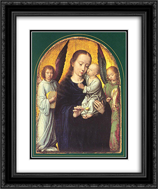 Mary and Child with Two Angels Making Music 20x24 Black or Gold Ornate Framed and Double Matted Art Print by Gerard David