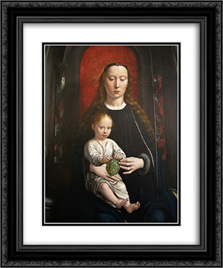 Polyptych of Cervara center panel Madonna and Child Enthroned 20x24 Black or Gold Ornate Framed and Double Matted Art Print by Gerard David