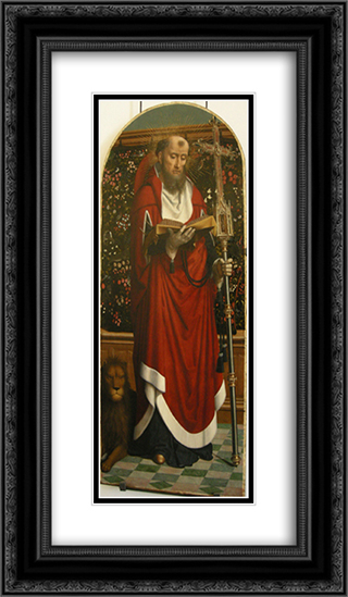 Polyptych of Cervara St. Jerome 14x24 Black or Gold Ornate Framed and Double Matted Art Print by Gerard David