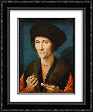 Portrait of a Goldsmith 20x24 Black or Gold Ornate Framed and Double Matted Art Print by Gerard David