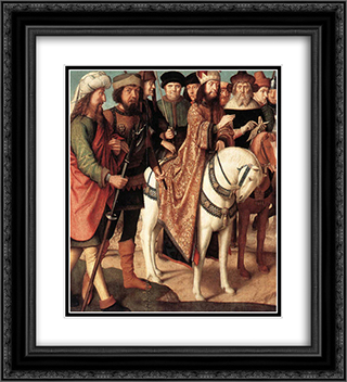 Roman soldiers and Jewish judges (left wing from the Triptych of the Crucifixion) 20x22 Black or Gold Ornate Framed and Double Matted Art Print by Gerard David