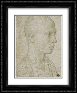 Study of a Bust of Yyoung Boy with Shaved Head 20x24 Black or Gold Ornate Framed and Double Matted Art Print by Gerard David