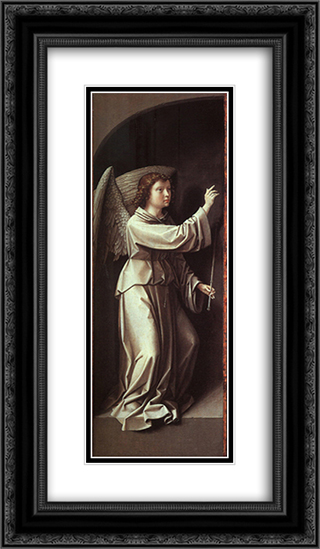 The Angel of the Annunciation 14x24 Black or Gold Ornate Framed and Double Matted Art Print by Gerard David