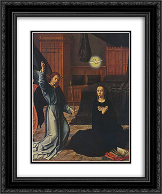 The Annunciation 20x24 Black or Gold Ornate Framed and Double Matted Art Print by Gerard David