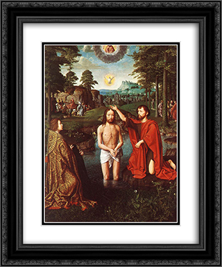 The Baptism of Christ (Central section of the triptych) 20x24 Black or Gold Ornate Framed and Double Matted Art Print by Gerard David