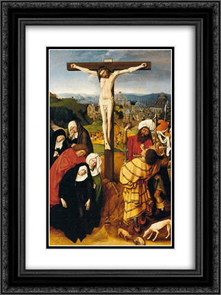 The Crucifixion 18x24 Black or Gold Ornate Framed and Double Matted Art Print by Gerard David