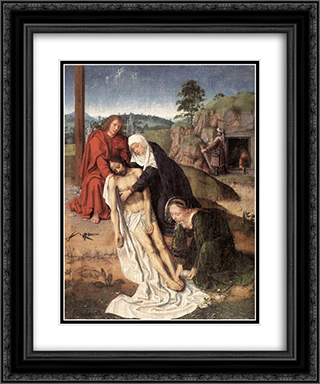 The Lamentation 20x24 Black or Gold Ornate Framed and Double Matted Art Print by Gerard David