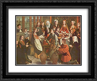 The Marriage at Cana 24x20 Black or Gold Ornate Framed and Double Matted Art Print by Gerard David