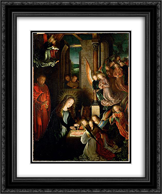 The Nativity 20x24 Black or Gold Ornate Framed and Double Matted Art Print by Gerard David