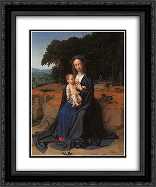 The Rest on the Flight into Egypt 20x24 Black or Gold Ornate Framed and Double Matted Art Print by Gerard David