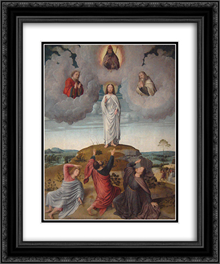 The Transfiguration of Christ (central panel) 20x24 Black or Gold Ornate Framed and Double Matted Art Print by Gerard David