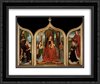The Triptych of the Sedano Family 24x20 Black or Gold Ornate Framed and Double Matted Art Print by Gerard David