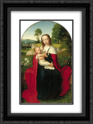 The Virgin and Child in a Landscape 18x24 Black or Gold Ornate Framed and Double Matted Art Print by Gerard David