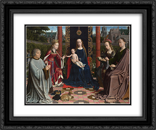 The Virgin and Child with Saints and Donor 24x20 Black or Gold Ornate Framed and Double Matted Art Print by Gerard David