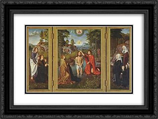 Triptych of Jan Des Trompes 24x18 Black or Gold Ornate Framed and Double Matted Art Print by Gerard David