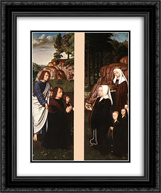 Triptych of Jean Des Trompes (side panels) 20x24 Black or Gold Ornate Framed and Double Matted Art Print by Gerard David