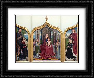 Triptych of the Sedano Family 24x20 Black or Gold Ornate Framed and Double Matted Art Print by Gerard David