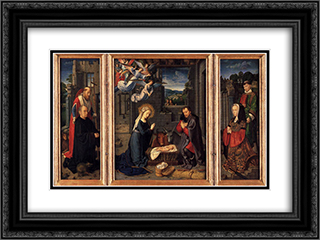 Triptych with the Nativity 24x18 Black or Gold Ornate Framed and Double Matted Art Print by Gerard David