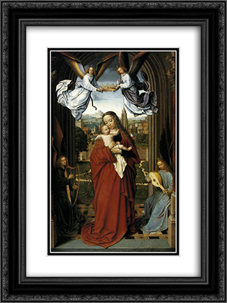 Virgin and Child with Four Angels 18x24 Black or Gold Ornate Framed and Double Matted Art Print by Gerard David