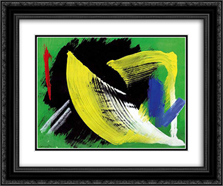 Composition a fond vert 24x20 Black or Gold Ornate Framed and Double Matted Art Print by Gerard Schneider