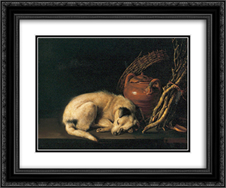 A Sleeping Dog with Terracotta Pot 24x20 Black Ornate Framed and Double Matted Art Print by Gerrit Dou