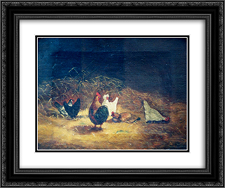 Chickens 24x20 Black or Gold Ornate Framed and Double Matted Art Print by Gheorghe Tattarescu