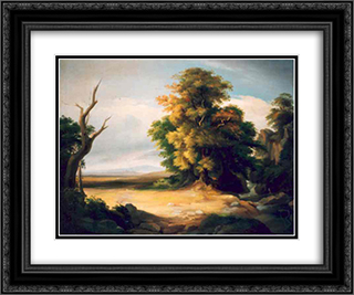 French Landscape 24x20 Black or Gold Ornate Framed and Double Matted Art Print by Gheorghe Tattarescu