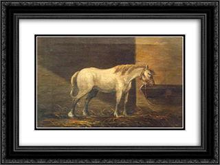 Horse in the Barn 24x18 Black or Gold Ornate Framed and Double Matted Art Print by Gheorghe Tattarescu