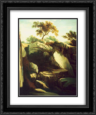 Landscape from Italy 20x24 Black or Gold Ornate Framed and Double Matted Art Print by Gheorghe Tattarescu