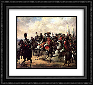 Michael the Brave and his troops 22x20 Black or Gold Ornate Framed and Double Matted Art Print by Gheorghe Tattarescu