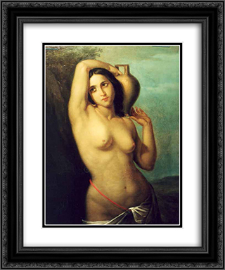 Nude 20x24 Black or Gold Ornate Framed and Double Matted Art Print by Gheorghe Tattarescu