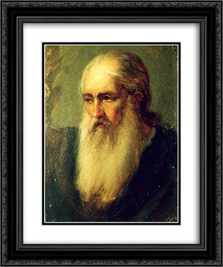 Old Monk 20x24 Black or Gold Ornate Framed and Double Matted Art Print by Gheorghe Tattarescu