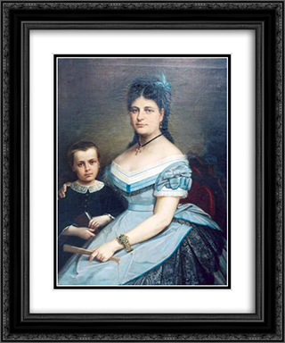 Painter's wife and his son 20x24 Black or Gold Ornate Framed and Double Matted Art Print by Gheorghe Tattarescu