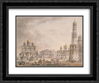 Cathedral Square of the Moscow Kremlin 24x20 Black or Gold Ornate Framed and Double Matted Art Print by Giacomo Quarenghi