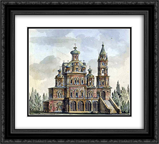 Church of the Assumption on Pokrovka 22x20 Black or Gold Ornate Framed and Double Matted Art Print by Giacomo Quarenghi