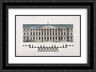 Design for the Smolny Institute in St Petersburg (facade) 24x18 Black or Gold Ornate Framed and Double Matted Art Print by Giacomo Quarenghi