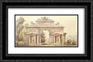 Design of a Triumphal Arch 24x16 Black or Gold Ornate Framed and Double Matted Art Print by Giacomo Quarenghi