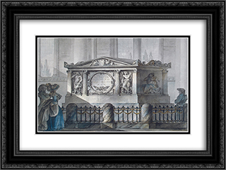 Design of Samuel Greig's tomb in Tallinn 24x18 Black or Gold Ornate Framed and Double Matted Art Print by Giacomo Quarenghi