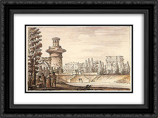 Ruined tower and Orlovsky gate 24x18 Black or Gold Ornate Framed and Double Matted Art Print by Giacomo Quarenghi