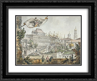 Terem Palace 24x20 Black or Gold Ornate Framed and Double Matted Art Print by Giacomo Quarenghi