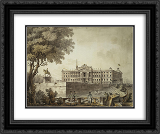 View of Saint Michael's Palace 24x20 Black or Gold Ornate Framed and Double Matted Art Print by Giacomo Quarenghi