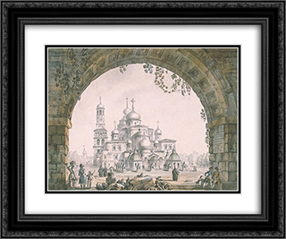 View of the New Jerusalem Monastery near Moscow 24x20 Black or Gold Ornate Framed and Double Matted Art Print by Giacomo Quarenghi
