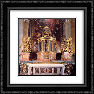 Altar of the Cappella del Sacramento 20x20 Black or Gold Ornate Framed and Double Matted Art Print by Gian Lorenzo Bernini