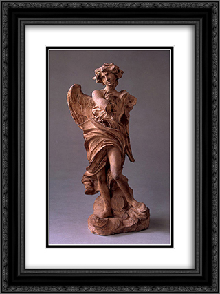 Angel with the Inscription of I.N.R.I. 18x24 Black or Gold Ornate Framed and Double Matted Art Print by Gian Lorenzo Bernini