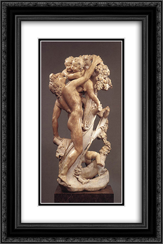 Bacchanal A Faun Teased by Children 16x24 Black or Gold Ornate Framed and Double Matted Art Print by Gian Lorenzo Bernini