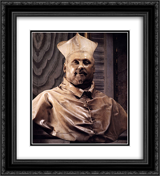 Bust of Cardinal Scipione Borghese 20x22 Black or Gold Ornate Framed and Double Matted Art Print by Gian Lorenzo Bernini