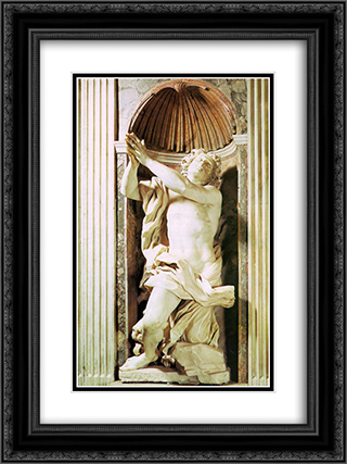 Daniel and the Lion 18x24 Black or Gold Ornate Framed and Double Matted Art Print by Gian Lorenzo Bernini