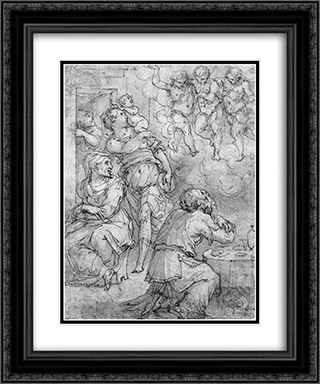 Abraham and the Three Angels 20x24 Black or Gold Ornate Framed and Double Matted Art Print by Giorgio Vasari