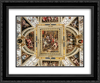Ceiling decoration Palazzo Vecchio, Florence 24x20 Black or Gold Ornate Framed and Double Matted Art Print by Giorgio Vasari